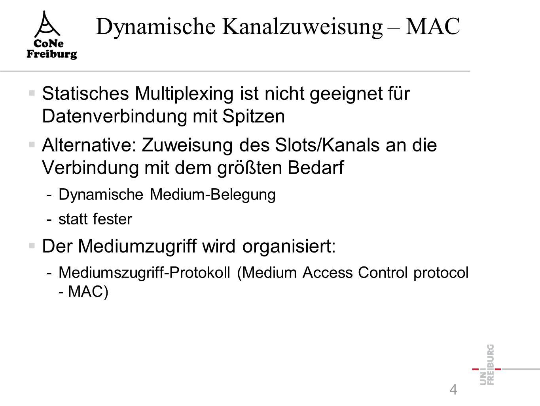 Dynamische Kanalzuweisung – MAC  Statisches Multiplexing ist nicht geeignet für Datenverbindung mit Spitzen  Alternative: Zuweisung des Slots/Kanals an die Verbindung mit dem größten Bedarf -Dynamische Medium-Belegung -statt fester  Der Mediumzugriff wird organisiert: -Mediumszugriff-Protokoll (Medium Access Control protocol - MAC) 4