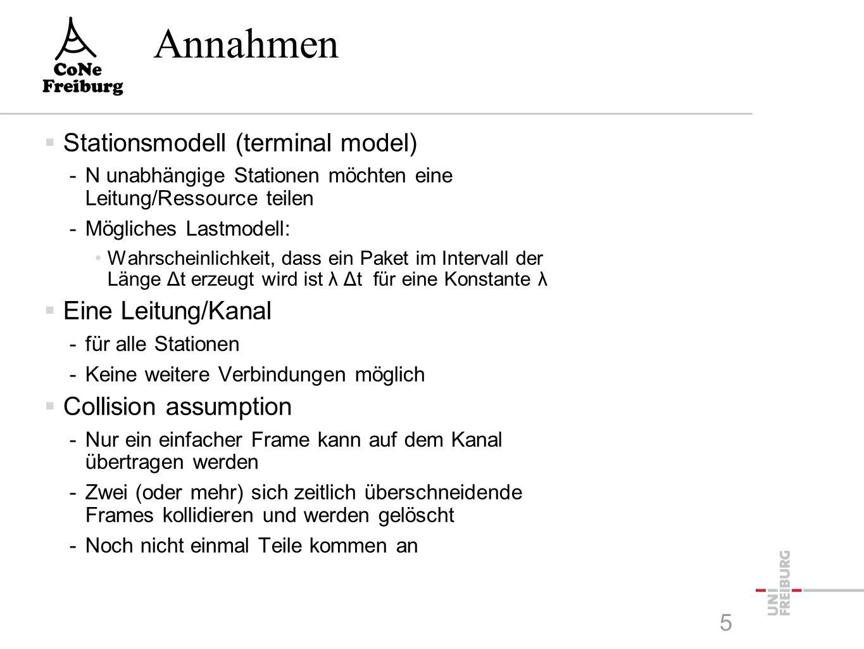 Annahmen  Stationsmodell (terminal model) -N unabhängige Stationen möchten eine Leitung/Ressource teilen -Mögliches Lastmodell: Wahrscheinlichkeit, dass ein Paket im Intervall der Länge Δt erzeugt wird ist λ Δt für eine Konstante λ  Eine Leitung/Kanal -für alle Stationen -Keine weitere Verbindungen möglich  Collision assumption -Nur ein einfacher Frame kann auf dem Kanal übertragen werden -Zwei (oder mehr) sich zeitlich überschneidende Frames kollidieren und werden gelöscht -Noch nicht einmal Teile kommen an 5