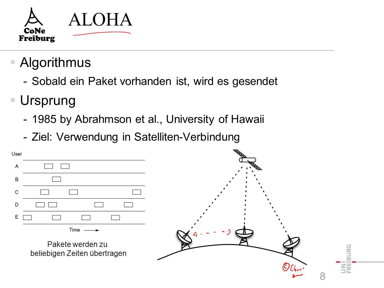 Pakete werden zu beliebigen Zeiten übertragen ALOHA  Algorithmus -Sobald ein Paket vorhanden ist, wird es gesendet  Ursprung -1985 by Abrahmson et al., University of Hawaii -Ziel: Verwendung in Satelliten-Verbindung 8