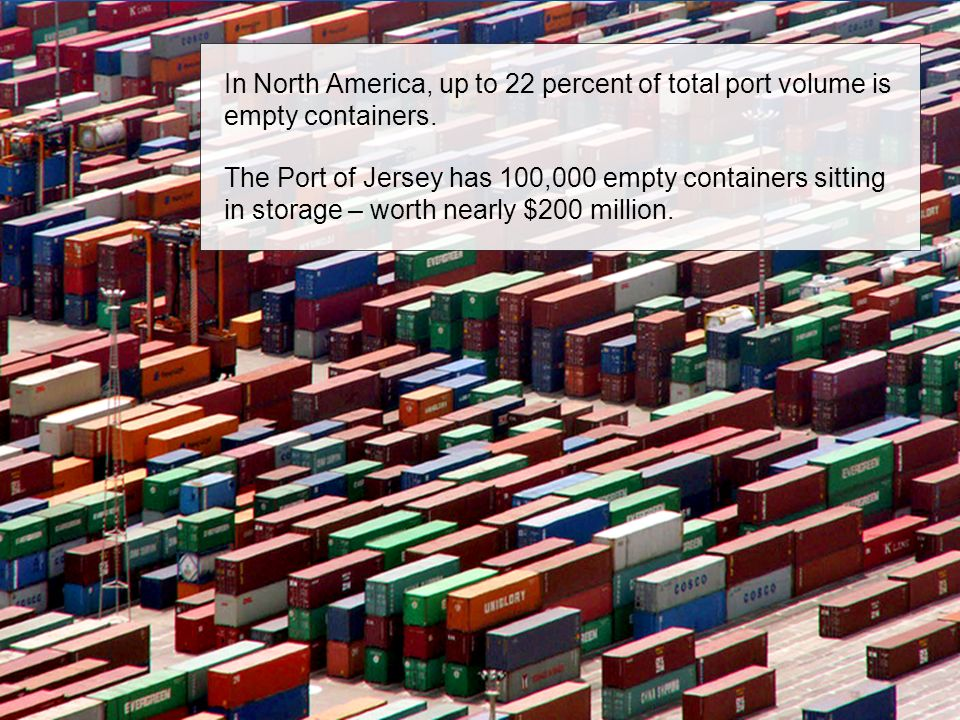 In North America, up to 22 percent of total port volume is empty containers.