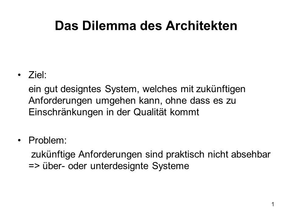 1 Das Dilemma des Architekten Ziel: ein gut designtes System, welches mit zukünftigen Anforderungen umgehen kann, ohne dass es zu Einschränkungen in der Qualität kommt Problem: zukünftige Anforderungen sind praktisch nicht absehbar => über- oder unterdesignte Systeme