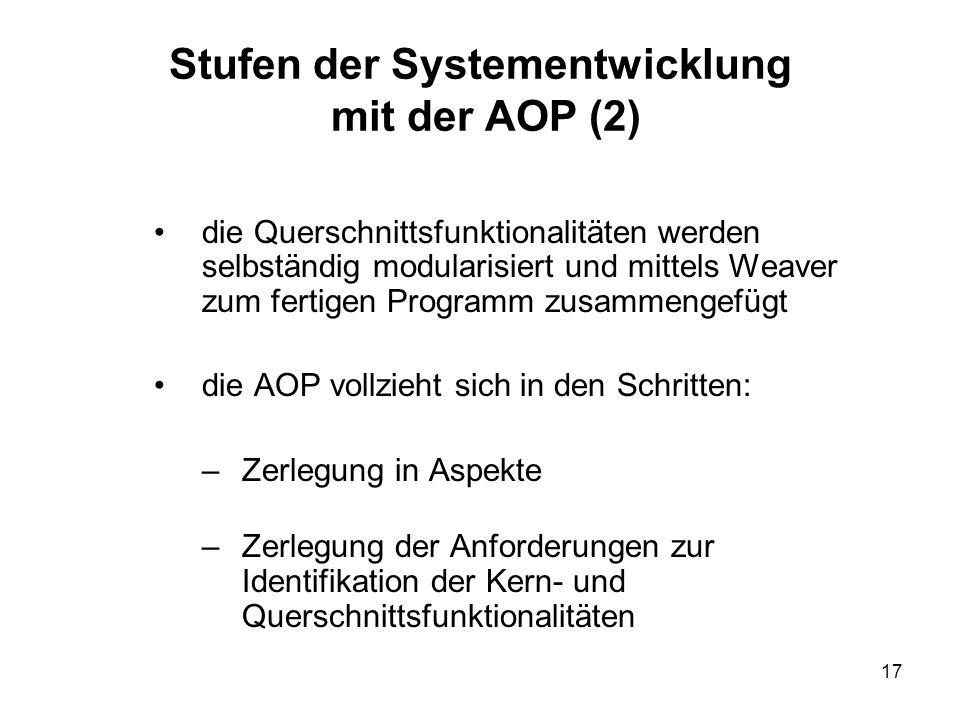 17 Stufen der Systementwicklung mit der AOP (2) die Querschnittsfunktionalitäten werden selbständig modularisiert und mittels Weaver zum fertigen Programm zusammengefügt die AOP vollzieht sich in den Schritten: –Zerlegung in Aspekte –Zerlegung der Anforderungen zur Identifikation der Kern- und Querschnittsfunktionalitäten