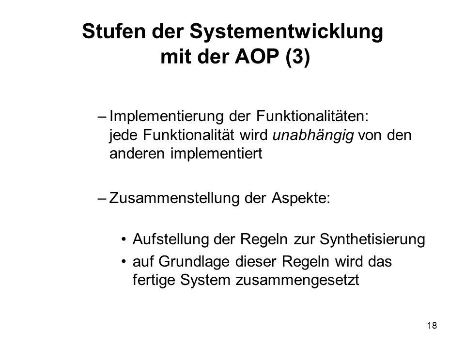 18 Stufen der Systementwicklung mit der AOP (3) –Implementierung der Funktionalitäten: jede Funktionalität wird unabhängig von den anderen implementiert –Zusammenstellung der Aspekte: Aufstellung der Regeln zur Synthetisierung auf Grundlage dieser Regeln wird das fertige System zusammengesetzt