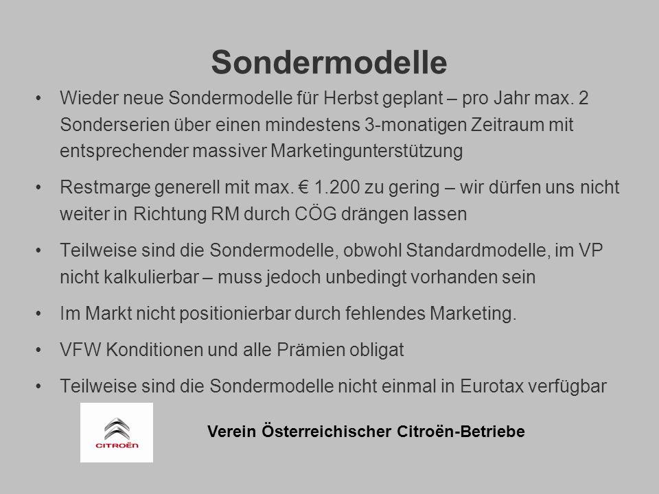 Verein Österreichischer Citroën-Betriebe Sondermodelle Wieder neue Sondermodelle für Herbst geplant – pro Jahr max.