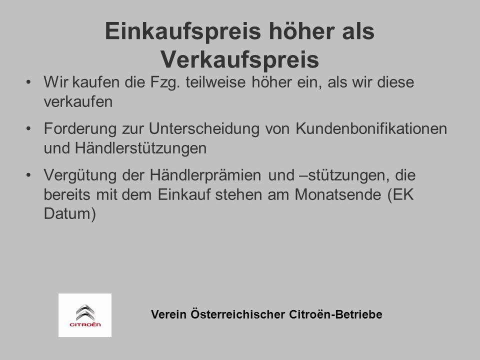 Verein Österreichischer Citroën-Betriebe Einkaufspreis höher als Verkaufspreis Wir kaufen die Fzg.