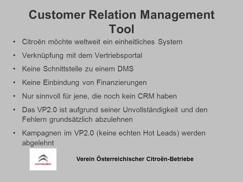 Verein Österreichischer Citroën-Betriebe Customer Relation Management Tool Citroën möchte weltweit ein einheitliches System Verknüpfung mit dem Vertriebsportal Keine Schnittstelle zu einem DMS Keine Einbindung von Finanzierungen Nur sinnvoll für jene, die noch kein CRM haben Das VP2.0 ist aufgrund seiner Unvollständigkeit und den Fehlern grundsätzlich abzulehnen Kampagnen im VP2.0 (keine echten Hot Leads) werden abgelehnt