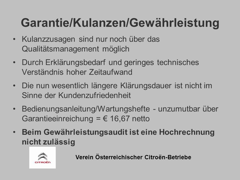Verein Österreichischer Citroën-Betriebe Garantie/Kulanzen/Gewährleistung Kulanzzusagen sind nur noch über das Qualitätsmanagement möglich Durch Erklärungsbedarf und geringes technisches Verständnis hoher Zeitaufwand Die nun wesentlich längere Klärungsdauer ist nicht im Sinne der Kundenzufriedenheit Bedienungsanleitung/Wartungshefte - unzumutbar über Garantieeinreichung = € 16,67 netto Beim Gewährleistungsaudit ist eine Hochrechnung nicht zulässig
