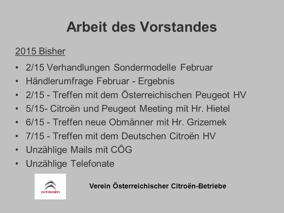 Verein Österreichischer Citroën-Betriebe Arbeit des Vorstandes 2015 Bisher 2/15 Verhandlungen Sondermodelle Februar Händlerumfrage Februar - Ergebnis 2/15 - Treffen mit dem Österreichischen Peugeot HV 5/15- Citroën und Peugeot Meeting mit Hr.