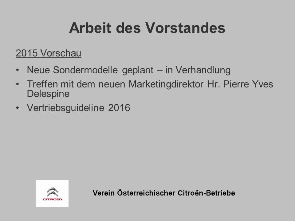 Verein Österreichischer Citroën-Betriebe Arbeit des Vorstandes 2015 Vorschau Neue Sondermodelle geplant – in Verhandlung Treffen mit dem neuen Marketingdirektor Hr.