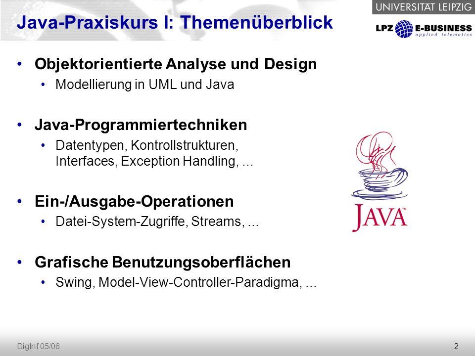 2 DigInf 05/06 Java-Praxiskurs I: Themenüberblick Objektorientierte Analyse und Design Modellierung in UML und Java Java-Programmiertechniken Datentypen, Kontrollstrukturen, Interfaces, Exception Handling,...