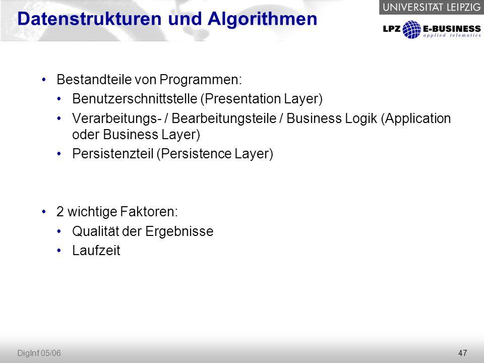 47 DigInf 05/06 Datenstrukturen und Algorithmen Bestandteile von Programmen: Benutzerschnittstelle (Presentation Layer) Verarbeitungs- / Bearbeitungsteile / Business Logik (Application oder Business Layer) Persistenzteil (Persistence Layer) 2 wichtige Faktoren: Qualität der Ergebnisse Laufzeit