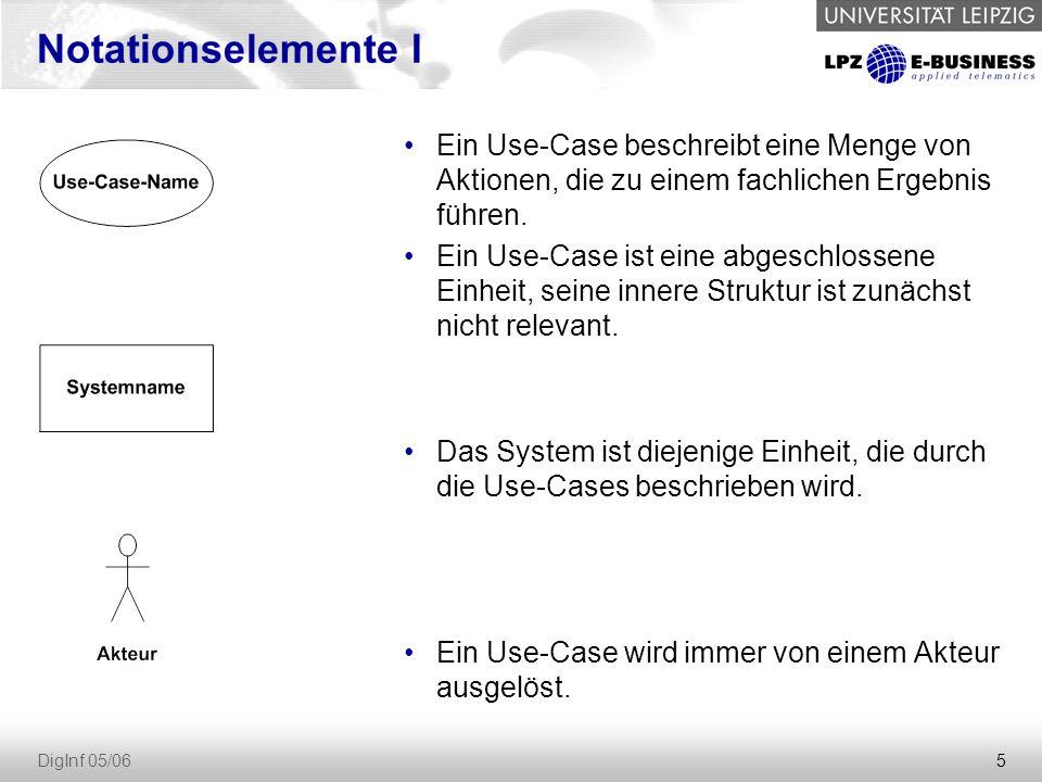 5 DigInf 05/06 Notationselemente I Ein Use-Case beschreibt eine Menge von Aktionen, die zu einem fachlichen Ergebnis führen.