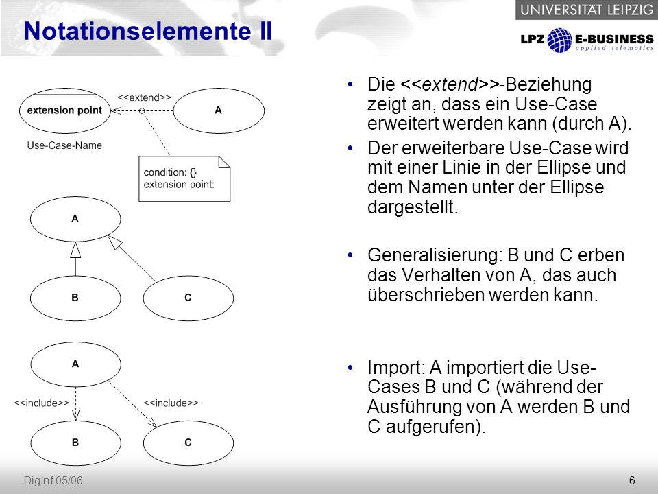 6 DigInf 05/06 Notationselemente II Die >-Beziehung zeigt an, dass ein Use-Case erweitert werden kann (durch A).