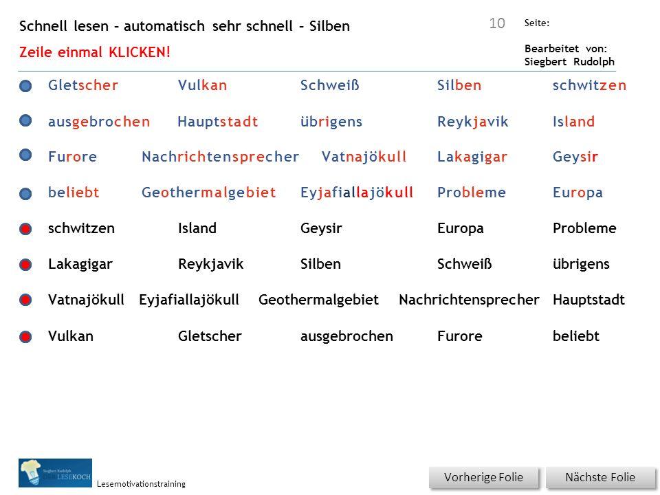 Übungsart: Seite: Bearbeitet von: Siegbert Rudolph Lesemotivationstraining Schnell lesen – automatisch sehr schnell – Silben Zeile einmal KLICKEN.