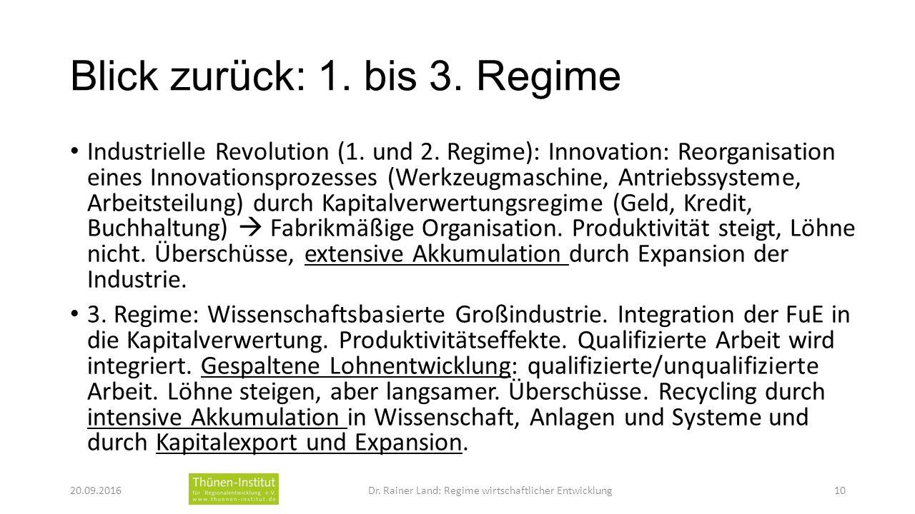 Blick zurück: 1. bis 3. Regime Industrielle Revolution (1.