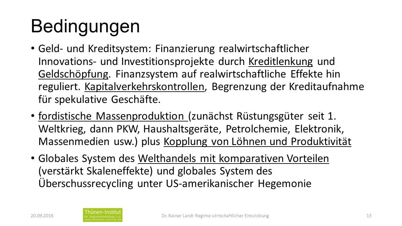 Bedingungen Geld- und Kreditsystem: Finanzierung realwirtschaftlicher Innovations- und Investitionsprojekte durch Kreditlenkung und Geldschöpfung.