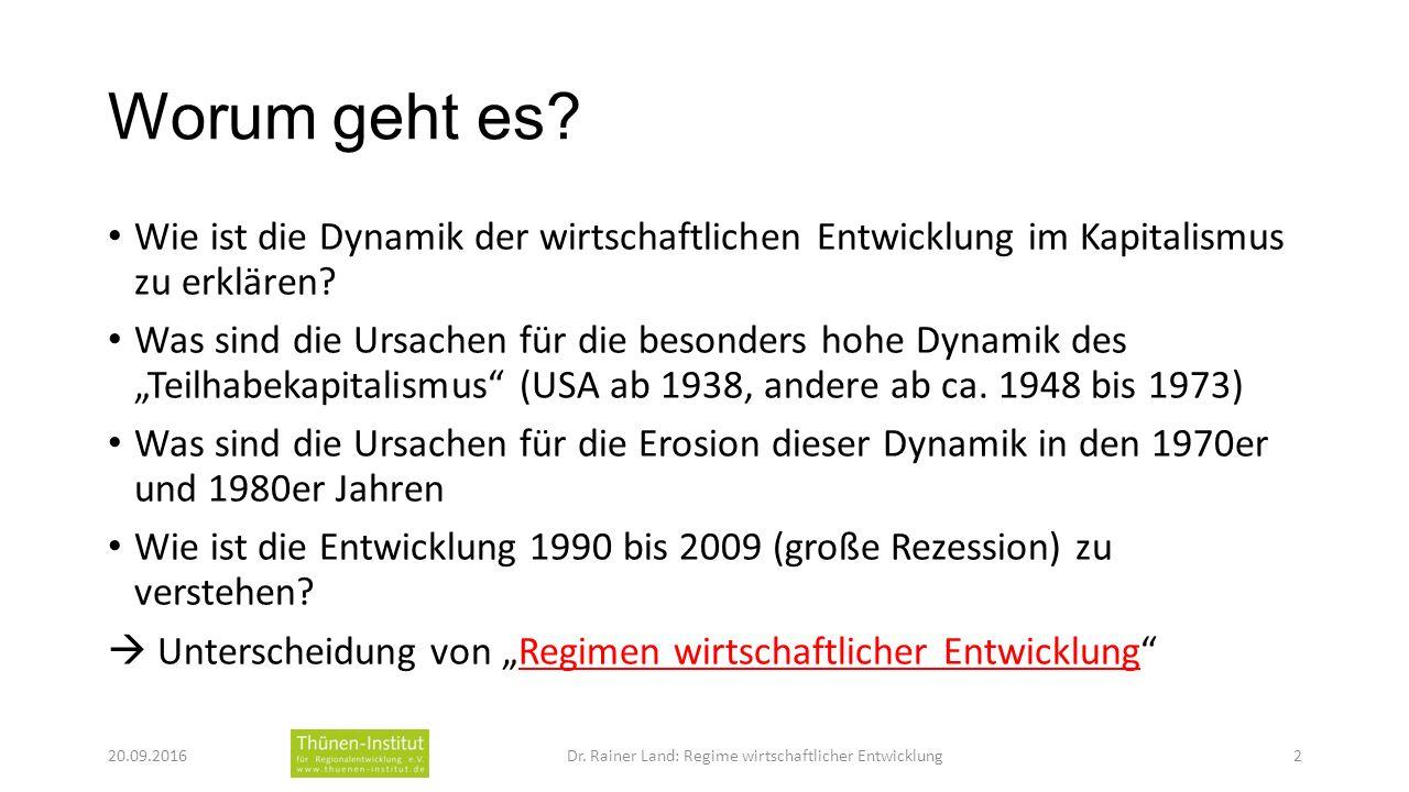 Worum geht es. Wie ist die Dynamik der wirtschaftlichen Entwicklung im Kapitalismus zu erklären.