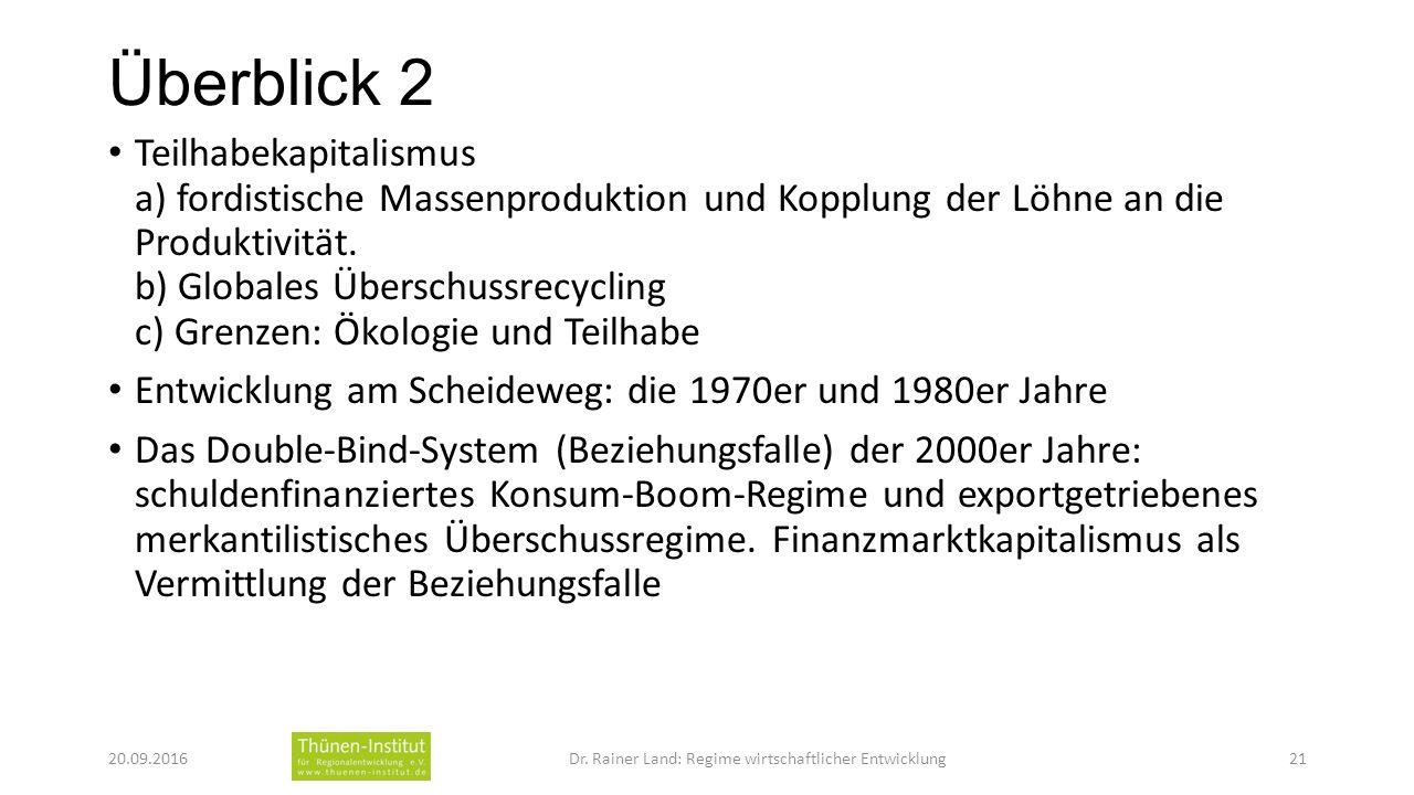 Überblick 2 Teilhabekapitalismus a) fordistische Massenproduktion und Kopplung der Löhne an die Produktivität.