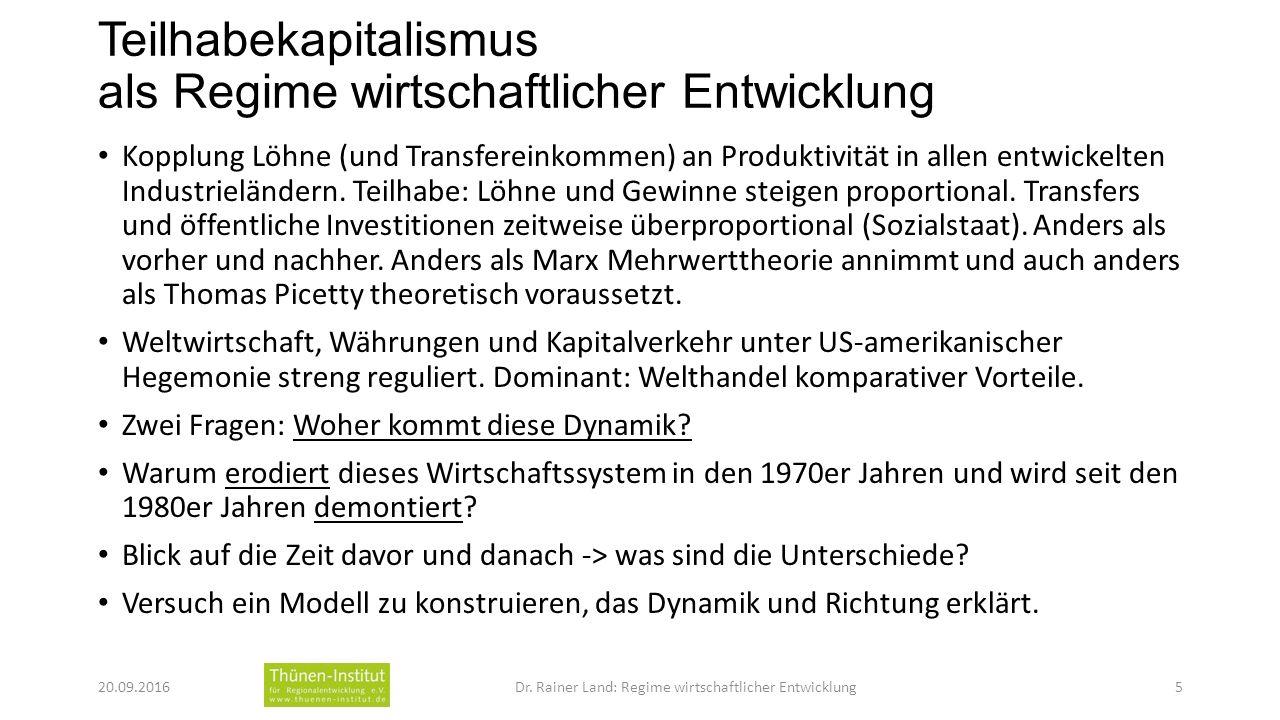 Teilhabekapitalismus als Regime wirtschaftlicher Entwicklung Kopplung Löhne (und Transfereinkommen) an Produktivität in allen entwickelten Industrieländern.