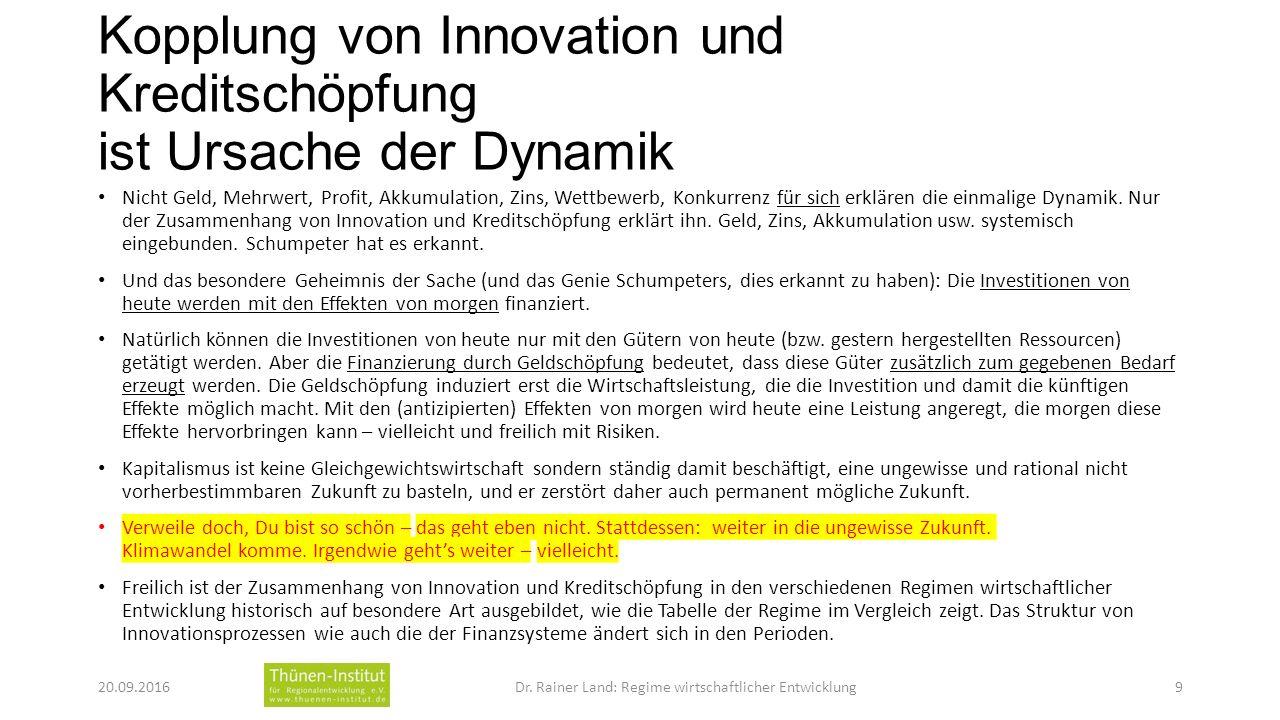 Kopplung von Innovation und Kreditschöpfung ist Ursache der Dynamik Nicht Geld, Mehrwert, Profit, Akkumulation, Zins, Wettbewerb, Konkurrenz für sich erklären die einmalige Dynamik.