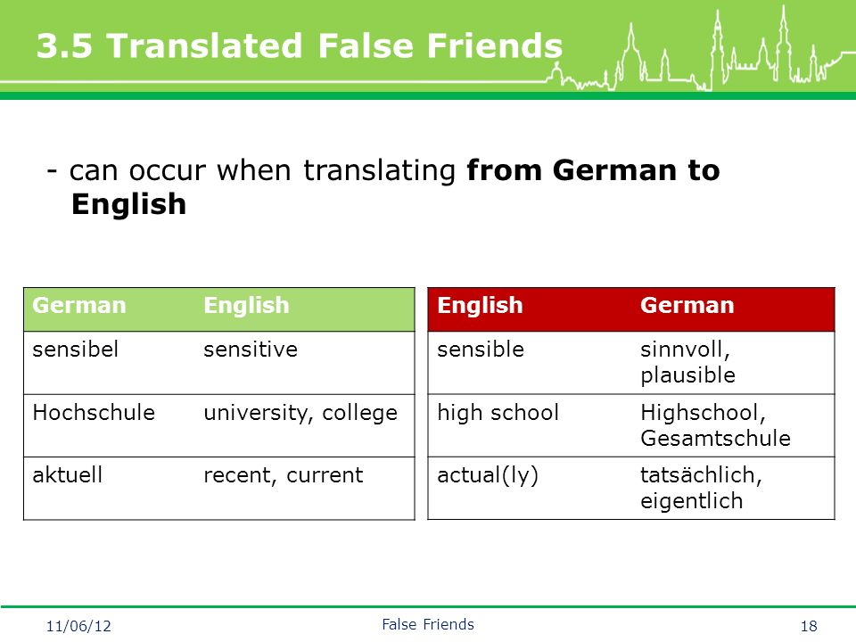 Mastertitelformat bearbeiten 3.5 Translated False Friends 11/06/12 False Friends 18 - can occur when translating from German to English GermanEnglish sensibelsensitive Hochschuleuniversity, college aktuellrecent, current EnglishGerman sensiblesinnvoll, plausible high schoolHighschool, Gesamtschule actual(ly)tatsächlich, eigentlich