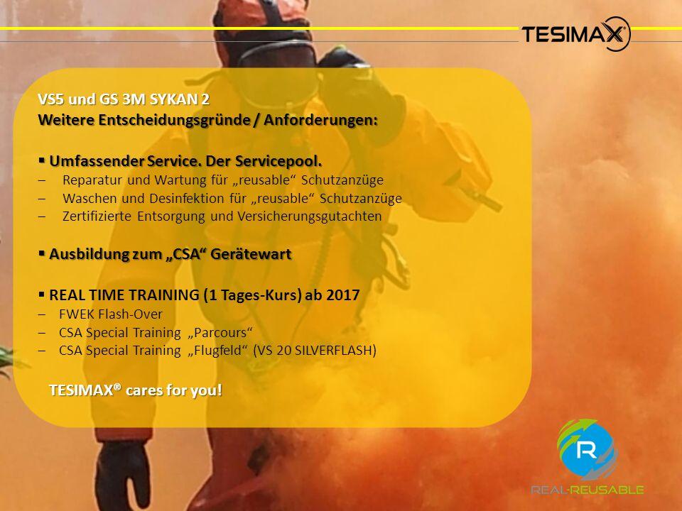 VS5 und GS 3M SYKAN 2 Weitere Entscheidungsgründe / Anforderungen:  Umfassender Service.