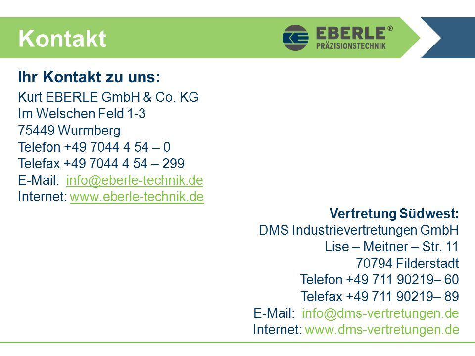 Kontakt Ihr Kontakt zu uns: Kurt EBERLE GmbH & Co.