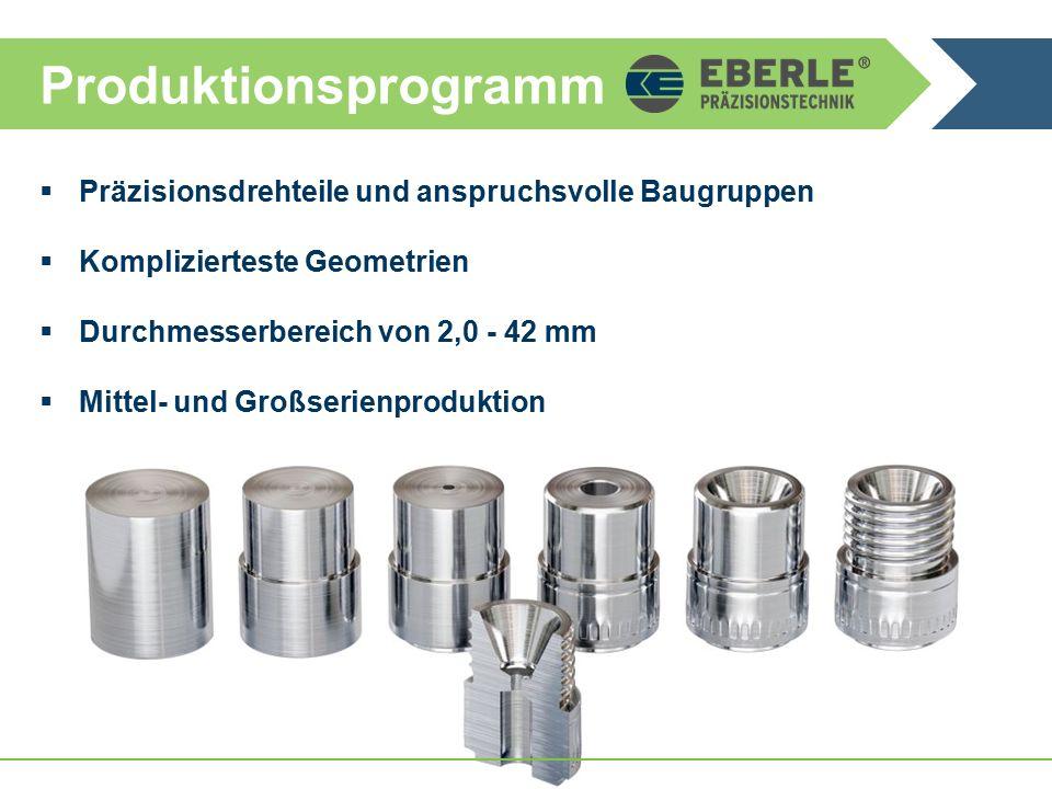 Produktionsprogramm  Präzisionsdrehteile und anspruchsvolle Baugruppen  Komplizierteste Geometrien  Durchmesserbereich von 2,0 - 42 mm  Mittel- und Großserienproduktion