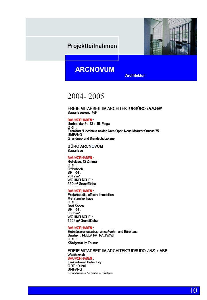 Projektteilnahmen Architektur ARCNOVUM FREIE MITARBEIT IM ARCHITEKTURBÜRO DUDANI Bauanträge und WP BAUVORHABEN : Umbau der 9 + 13 + 15.