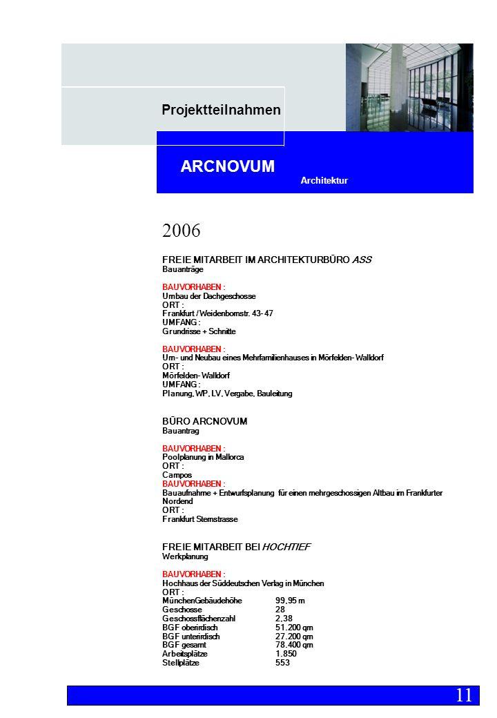 Projektteilnahmen Architektur ARCNOVUM FREIE MITARBEIT IM ARCHITEKTURBÜRO ASS Bauanträge BAUVORHABEN : Umbau der Dachgeschosse ORT : Frankfurt / Weidenbornstr.