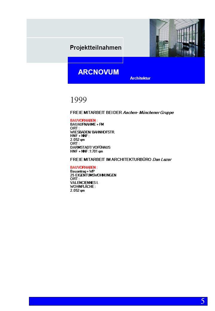 Projektteilnahmen Architektur ARCNOVUM FREIE MITARBEIT BEI DER Aachen- Münchener Gruppe BAUVORHABEN : BAUAUFNAHME + FM ORT : WIESBADEN/ BAHNHOFSTR.