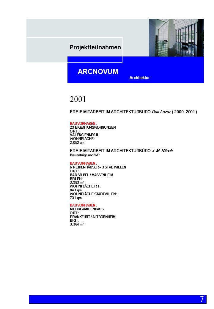 Projektteilnahmen Architektur ARCNOVUM FREIE MITARBEIT IM ARCHITEKTURBÜRO Dan Lazar ( 2000- 2001 ) BAUVORHABEN : 23 EIGENTUMSWOHNUNGEN ORT : VALENCIENNES II.