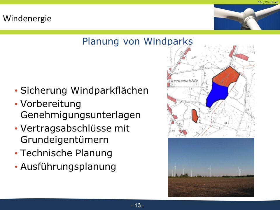 02c / Windkraft - 13 - Planung von Windparks Sicherung Windparkflächen Vorbereitung Genehmigungsunterlagen Vertragsabschlüsse mit Grundeigentümern Technische Planung Ausführungsplanung