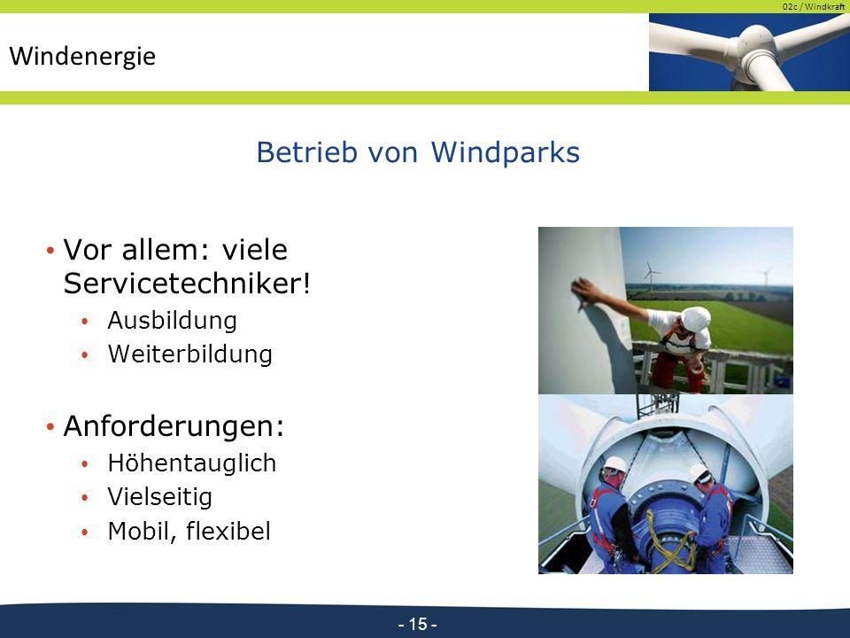 02c / Windkraft - 15 - Betrieb von Windparks Vor allem: viele Servicetechniker.