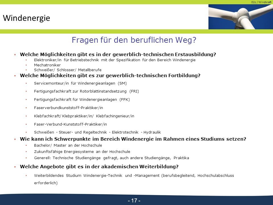 02c / Windkraft - 17 - Fragen für den beruflichen Weg.