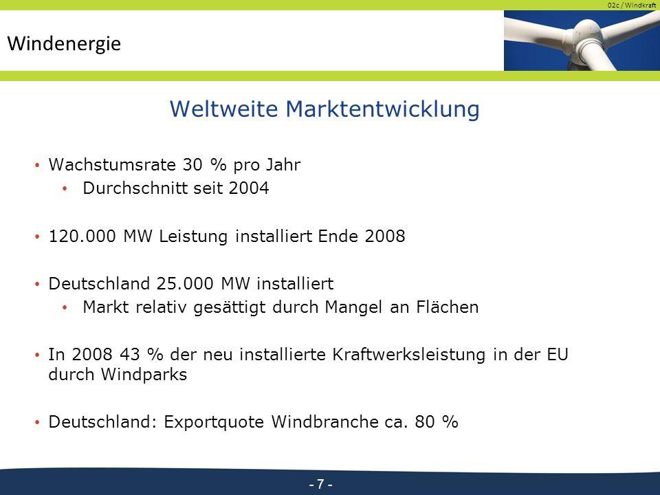 02c / Windkraft - 7 - Weltweite Marktentwicklung Wachstumsrate 30 % pro Jahr Durchschnitt seit 2004 120.000 MW Leistung installiert Ende 2008 Deutschland 25.000 MW installiert Markt relativ gesättigt durch Mangel an Flächen In 2008 43 % der neu installierte Kraftwerksleistung in der EU durch Windparks Deutschland: Exportquote Windbranche ca.