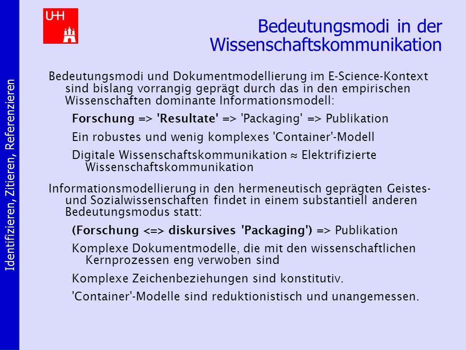 Identifizieren, Zitieren, Referenzieren Bedeutungsmodi in der Wissenschaftskommunikation Bedeutungsmodi und Dokumentmodellierung im E-Science-Kontext sind bislang vorrangig geprägt durch das in den empirischen Wissenschaften dominante Informationsmodell: Forschung => Resultate => Packaging => Publikation Ein robustes und wenig komplexes Container -Modell Digitale Wissenschaftskommunikation ≈ Elektrifizierte Wissenschaftskommunikation Informationsmodellierung in den hermeneutisch geprägten Geistes- und Sozialwissenschaften findet in einem substantiell anderen Bedeutungsmodus statt: (Forschung diskursives Packaging ) => Publikation Komplexe Dokumentmodelle, die mit den wissenschaftlichen Kernprozessen eng verwoben sind Komplexe Zeichenbeziehungen sind konstitutiv.