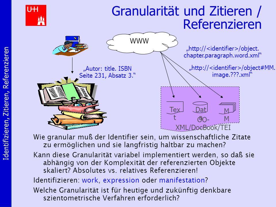 Identifizieren, Zitieren, Referenzieren Granularität und Zitieren / Referenzieren Wie granular muß der Identifier sein, um wissenschaftliche Zitate zu ermöglichen und sie langfristig haltbar zu machen.