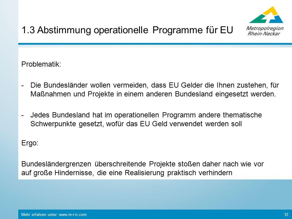 Mehr erfahren unter: www.m-r-n.com 12 1.3 Abstimmung operationelle Programme für EU Problematik: -Die Bundesländer wollen vermeiden, dass EU Gelder die Ihnen zustehen, für Maßnahmen und Projekte in einem anderen Bundesland eingesetzt werden.