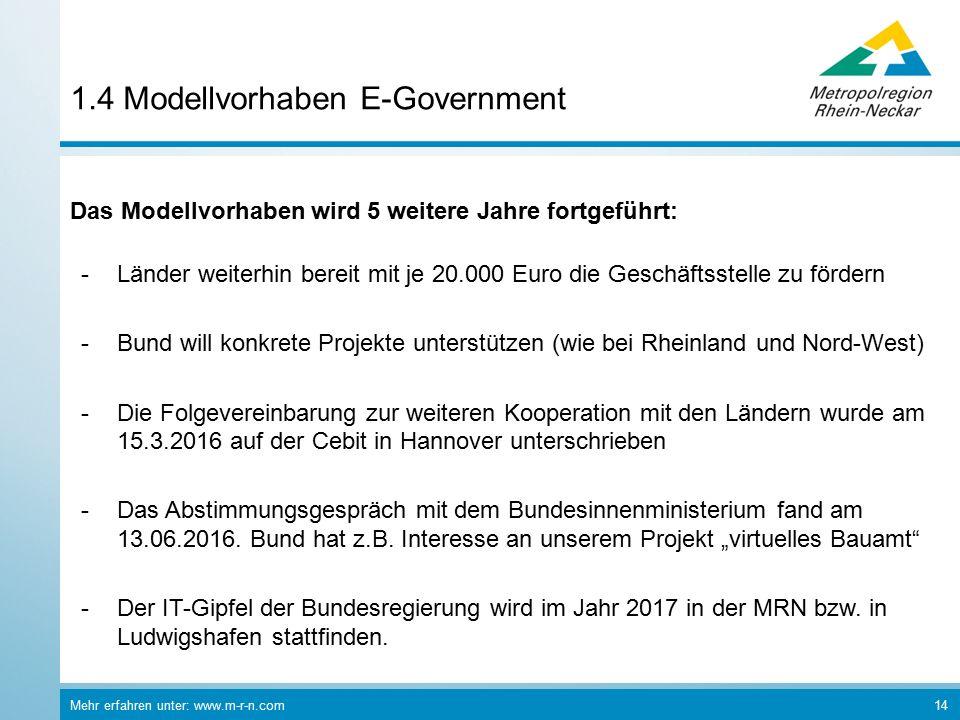 Mehr erfahren unter: www.m-r-n.com 14 1.4 Modellvorhaben E-Government Das Modellvorhaben wird 5 weitere Jahre fortgeführt: -Länder weiterhin bereit mit je 20.000 Euro die Geschäftsstelle zu fördern -Bund will konkrete Projekte unterstützen (wie bei Rheinland und Nord-West) -Die Folgevereinbarung zur weiteren Kooperation mit den Ländern wurde am 15.3.2016 auf der Cebit in Hannover unterschrieben -Das Abstimmungsgespräch mit dem Bundesinnenministerium fand am 13.06.2016.