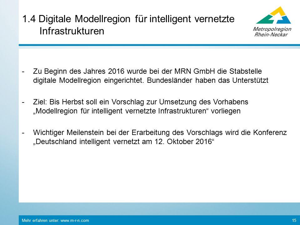 Mehr erfahren unter: www.m-r-n.com 15 1.4 Digitale Modellregion für intelligent vernetzte Infrastrukturen -Zu Beginn des Jahres 2016 wurde bei der MRN GmbH die Stabstelle digitale Modellregion eingerichtet.