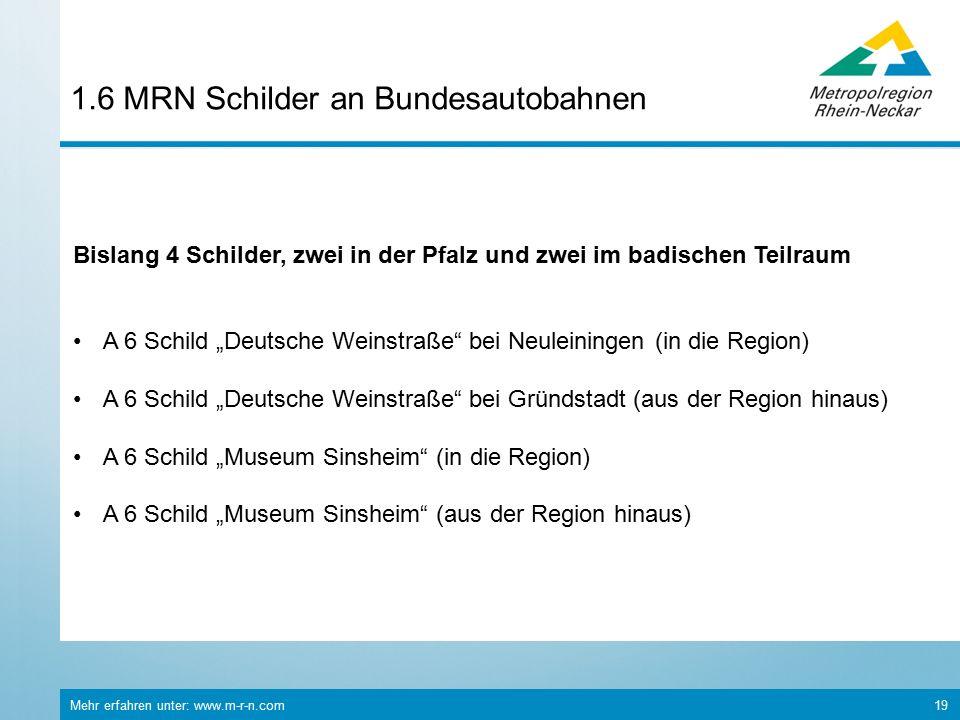 """Mehr erfahren unter: www.m-r-n.com 19 1.6 MRN Schilder an Bundesautobahnen Bislang 4 Schilder, zwei in der Pfalz und zwei im badischen Teilraum A 6 Schild """"Deutsche Weinstraße bei Neuleiningen (in die Region) A 6 Schild """"Deutsche Weinstraße bei Gründstadt (aus der Region hinaus) A 6 Schild """"Museum Sinsheim (in die Region) A 6 Schild """"Museum Sinsheim (aus der Region hinaus)"""