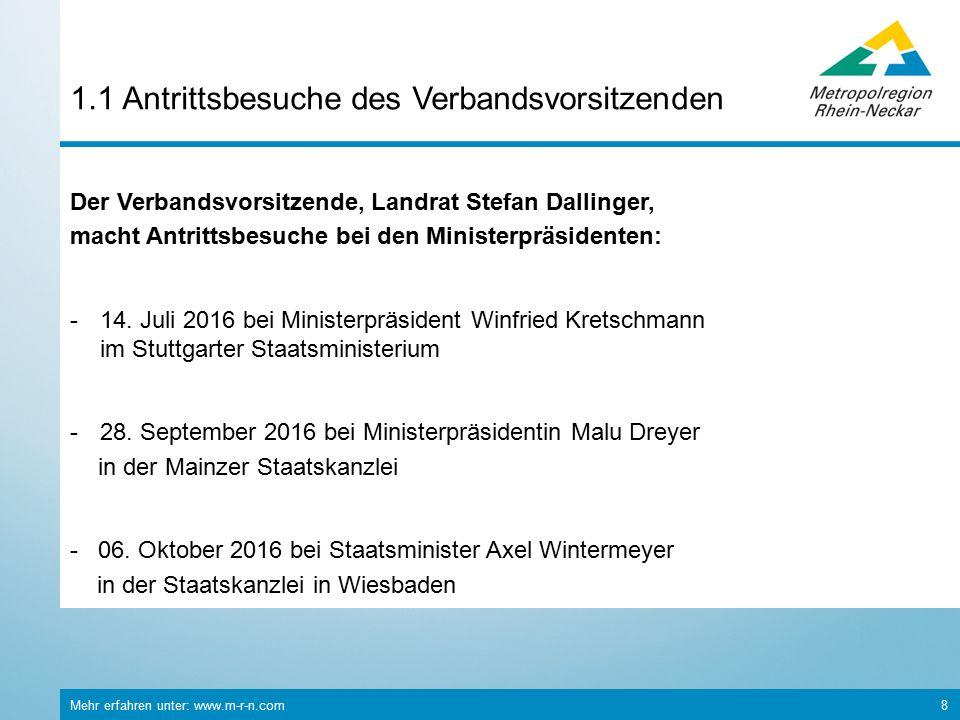Mehr erfahren unter: www.m-r-n.com 8 1.1 Antrittsbesuche des Verbandsvorsitzenden Der Verbandsvorsitzende, Landrat Stefan Dallinger, macht Antrittsbesuche bei den Ministerpräsidenten: -14.