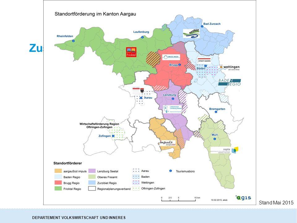 DEPARTEMENT VOLKSWIRTSCHAFT UND INNERES Zusammenarbeit in den Regionen Stand Mai 2015