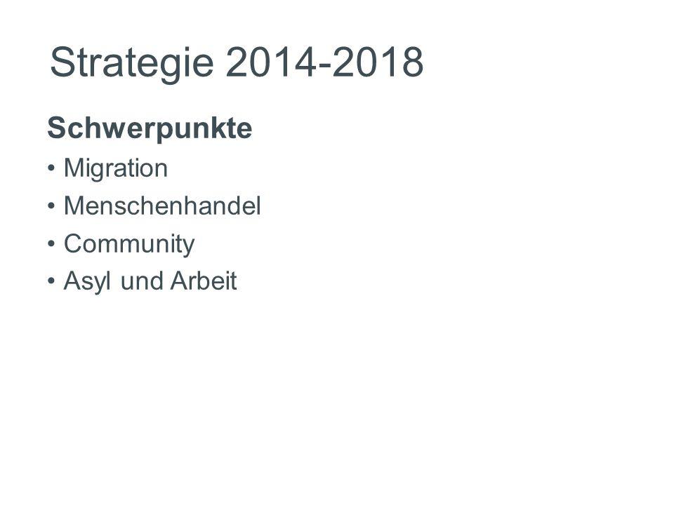 Strategie 2014-2018 Schwerpunkte Migration Menschenhandel Community Asyl und Arbeit