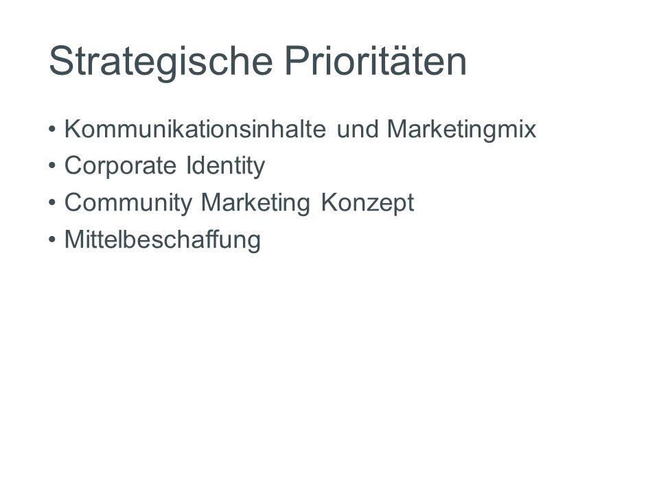 Strategische Prioritäten Kommunikationsinhalte und Marketingmix Corporate Identity Community Marketing Konzept Mittelbeschaffung
