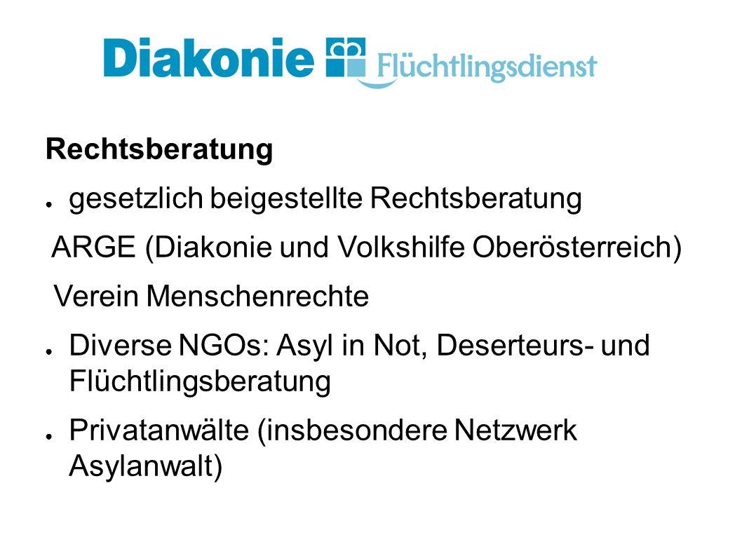 Rechtsberatung ● gesetzlich beigestellte Rechtsberatung ARGE (Diakonie und Volkshilfe Oberösterreich) Verein Menschenrechte ● Diverse NGOs: Asyl in Not, Deserteurs- und Flüchtlingsberatung ● Privatanwälte (insbesondere Netzwerk Asylanwalt)