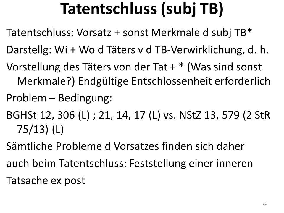 Tatentschluss (subj TB) Tatentschluss: Vorsatz + sonst Merkmale d subj TB* Darstellg: Wi + Wo d Täters v d TB-Verwirklichung, d.