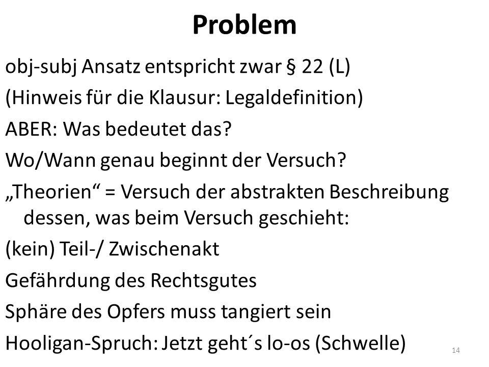 Problem obj-subj Ansatz entspricht zwar § 22 (L) (Hinweis für die Klausur: Legaldefinition) ABER: Was bedeutet das.
