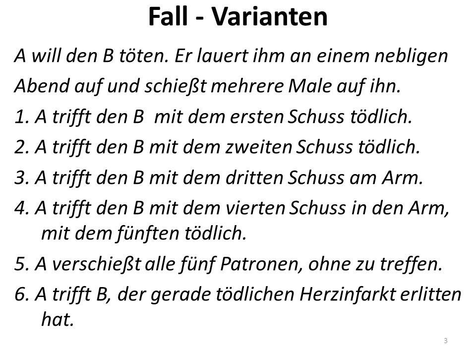 Fall - Varianten A will den B töten.